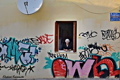 Chania old town (Eleanna Kounoupa) Tags: windows people graffiti greece crete oldtown chania        stphotographia