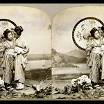 TWO GEISHA POSE FOR A 3-D PHOTO in T. ENAMI'S YOKOHAMA STUDIO thumbnail