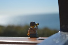 Bench n Beach (269/365) (robjvale) Tags: sea beach wales bench relax outside outdoors coast nikon view lego outdoor binoculars rest breather minifigure project365 adventurerjoe