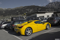 Supercar & helicopter (Iceman_Mark) Tags: summer alps yellow switzerland design airport italia centro ferrari airbus helicopters stile supercar v8 engadin naturally pininfarina graubnden samedan 458 45litre aspirated helibernina