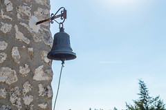 (Psinthos.Net) Tags: autumn light sky sunlight nature airplane countryside october iron day bell chapel bluesky stonewall noon sunrays treebranches cypresstrees cypresstree    psinthos     orthodoxchapel             parmeni