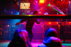 London 10x15 37 (LondonFrog) Tags: christmas street uk winter red england people london glass lights hand purple violet fair southbank roller rink grils rollerdisco throughglass 2015 nodrink