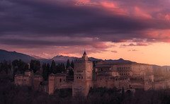 Eterna Alhambra (Iván F.) Tags: alhambra granada andalucia spain sunset sundown atardecer cityscape cloud cloudy sky colourful old palace palacio sony a7r zeiss 55mm 18 light dark explore exploration urban travel tourism europe