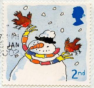 great stamp Great Britain 2nd (snowman, Schneemann, pupazzo di neve, bonhomme de neige, snögubbe, snømann, snemand, hóember, muñeco de nieve 雪人, снегови́к , lumiukko, boneco de neve, bałwan, om de zapada) timbre UK United Kingdom stamps England selo sello