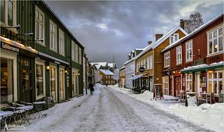 Winter street in Trondheim, Norway