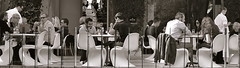 Gathered (MPnormaleye) Tags: contrasty crowds restaurant cafe dining crowd customers utata 50mm blackwhite monochrome pano panorama eating society