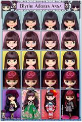 Blythe Adores Anna (electrikbarbarella) Tags: neo blythe doll comparison blytheadoresanna baa reginairwen ri ladycamellia lc natashamoore nm