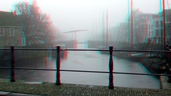 Delfshaven Rotterdam 3D (wim hoppenbrouwers) Tags: delfshaven rotterdam 3d anaglyph stereo redcyan fog mist canal historic