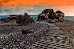 Kiotari beach (rodiann) Tags: rhodes rodi rhodos rodos greece grecia grece sky sea blue purple seaside rocks clouds stairway stairs outdoor colours colourful leading beach