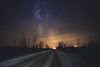 Strange feeling (Haapih) Tags: milkyway galaxy sunset carlights road forest countryside kiuruvesi finland suomi lights stars nightphotography astrophotography snow winter landscape