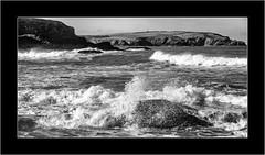 Incoming (SK Monos) Tags: sea seascape coast monochrome blackwhite january winter england uk britain canon eos 5d spray tide storm water