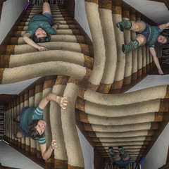 Day 3686 (evaxebra) Tags: wh wah steps stairs twirl escher green fall