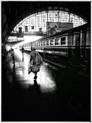 Monk in Bangkok train station.     (Iphone6) (Mark Fearnley Photography) Tags: streetphotography street iphone6 iphone cinematic moody cinema filmnoir noir trainstation monk train bangkok thailand