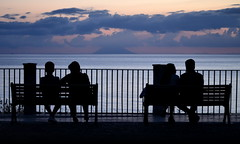 [ Libertà all'orizzonte - Freedom on the horizon ] DSC_0928.2.jinkoll (jinkoll) Tags: silhouette street people couple benches balustrade view horizon sea water sky clouds aeolian islands tropea calabria sit seat sitting reflections gloaming blue hour seated