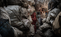 Recycling ....Dharavi, Mumbai (Wanda Amos@Old Bar) Tags: india recycling bales environmentalportrait street plasticrecycling shreddedplasticandpaper
