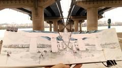 Sketching Mapo Bridge (마포대교) , Yeouido, Seoul (velt.mathieu) Tags: bridge korea seoul croquis corée 한국 urbansketching
