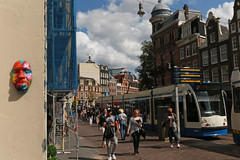 Koningsplein - Amsterdam (Netherlands) (Meteorry) Tags: street people holland art netherlands amsterdam tongue 3d europe scaffolding faces centre nederland tram august center streetcar rue tramway paysbas centrum noordholland mockery gvb chafaudage leidsestraat artderue threedimensional combino visages koningsplein 2015 gregos meteorry gregosamsterdam