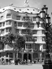 Casa Pedrera - Barcelona (Spain) (luca_margarone) Tags: barcelona street city white house black art architecture vintage monocromo casa spain europa europe view arte symbol centre edificio centro e vista catalunya typical bianco nero architettura barcellona spagna pedrera citt catalogna simbolo tipica tipico retr