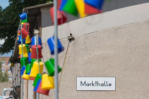 Schild der Markthalle an der Alten Börse Foto: Ole Bader
