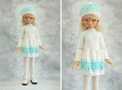 New winter outfit for Kaye Wiggs MSD (Maram Banu) Tags: snowflake winter white hat outfit aqua doll dress handmade bjd layla sunkissed msd kayewiggs kazekids fairystyle marambanu