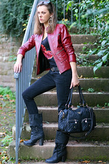 Lena 27 (The Booted Cat) Tags: sexy girl leather model boots jeans jacket tight