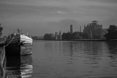 Aprs la brume (celinadayton) Tags: blackandwhite sun mist nature water fog outside soleil boat canal eau factory belgium belgique noiretblanc bateau paysage extrieur channel usine lige peniche herstal
