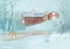 Let it snow, let it snow, let it snow!!! (BirgittaSjostedt) Tags: wood old houses winter horse snow texture fence village outdoor scene idyllic artdigital trolled magicunicornverybest netartii birgittasjostedt