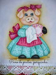 Pano de prato porquinha (romelia.artesanatos) Tags: pano prato pintura tecido porquinha