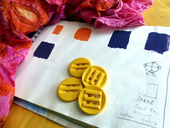 Mother's Scarf & Sketchbook (danagraves) Tags: stilllife lines richcolors vintagebuttons 52weeks2015 mymothersfavoritethings stilllifewithscarfsketchbook backgroundenvelope