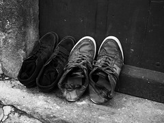 Where are my shoes (Ren-s) Tags: door blackandwhite france shoes sneakers baskets porte chaussures clermontferrand