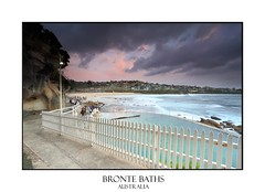 Bronte Baths and Beach from the mid cliff face (sugarbellaleah) Tags: camera seascape beach pool beautiful clouds landscape coast scenery rocks surf sydney suburbia photographers australia nsw kickboard picketfence ocena easternsuburbs focusaustralia brontebrontebaths