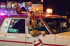 Ghostbuster (Eric Arnold Photography) Tags: ghostbuster ghost buster brunette sexy woman girl fishnet fishnets stockings short ecto ecto1 ectoone hearse 2016 vegas lasvegas nv nevada dtlv logo downtown fremont sincity parade cadillac halloween