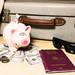 Sparschwein mit Geld und Koffer - Urlaub mit Reisepass - nah