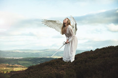 Castiel (Furcifer07) Tags: angel celestial wings winged bird feathers gown white nightgown hill overlook wales sychnant pass green sky cloud clouds flickr gathering concept concetual portrait portraiture mark iii canon 5d sword heaven army castiel biblical background wallpaper loren schmidt helena bollen dc photographer