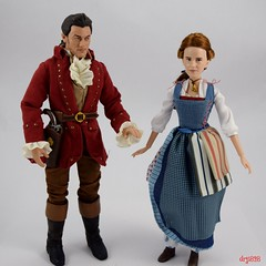 Film Collection Belle and Gaston Doll Set - Live Action Beauty and the Beast - Disney Store Purchase - Deboxed - Free Standing Side by Side - Full Front View (drj1828) Tags: us disneystore beautyandthebeast liveactionfilm 2017 belle disneyfilmcollection 12inch posable dollset blue peasant dress deboxed freestanding gaston sidebyside