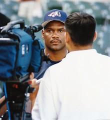 Interviewing Raines (NJ Baseball) Tags: 2000 timraines somersetpatriots atlanticleague independentleague newjersey bridgewater somersetcounty halloffamer