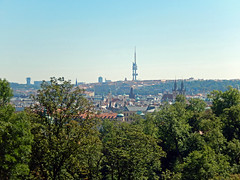 View of Prague from the Royal Gardens, 2016 Aug 27 -- photo 2 (Dunnock_D) Tags: czechia czechrepublic prague blue sky garden gardens trees buildings city malástrana lessertown