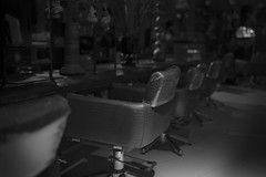 hair salon after dark (Roger Foo) Tags: hairsalon afterdark chairs mirrors