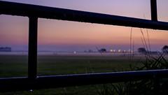 Foggy sunrise (Wouter de Bruijn) Tags: fujifilm xt1 fujinonxf90mmf2rlmwr sunrise dawn morning fence bars metal landscape nature fog mist haze outdoor depthoffield