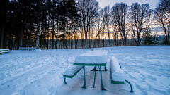 a nice spot for a picnic (Ben McLeod) Tags: oregon portland sellwood sellwoodbluff sellwoodpark winterstorm dusk picnictable snow sunset
