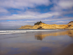 Cape Kiwanda Sand & Sky (RobertCross1 (off and on)) Tags: 1250mmf3563mzuiko em5 omd or olympus oregon oregoncoast pacificcity pacificocean pacificnorthwest tillamook beach bluesky clouds coastline landscape nature reflection sand seascape surf trees water waves