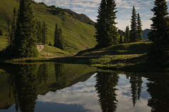 Seeing Double (Patrick.Russell) Tags: paradise paradisedivide colorado crestedbutte co cb alpine lake reflection morning mirror nikon d300 lightroom landscape nature outdoor outdoors wilderness elkmountains mountains green water
