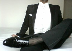 hard-in-tails_9478985636_o (shinydressshoes) Tags: tux tuxedo suit formal smoking anzug attire bowtie blacktie whitetie tails tailcoat frack lackschuhe shiny dress shoes patent groom prom sheer socks tuxguy suitguy wet
