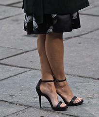 Criss / Cross (Professor Bop) Tags: woman legs feet shoes pavement sidewalk female highheelshoes femalefeet pedestrian