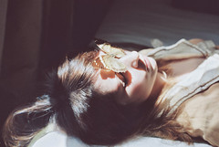 Bedroom Stories. (Violette Nell) Tags: portrait portraiture analog argentique portraitargentique youth dreamy vintage retro violettenell filmphotography 35mmcolorfilm bedroomstories analogue feeling body closeup color visage melancholy intimacy interior girl france butterfly papillon dream feelings soul aesthetic model