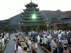 3 Liuzhou 柳州市 , 三江鼓楼, 中国广西柳州,好客的侗族人在寨子的侗楼前摆宴招待客人 (nancy.liew) Tags: guangxi 广西壮族自治区 liuzhou 柳州市