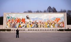 Pyongyang Mural (asenseof.wonder) Tags: northkorea korea dprk pyongyang mural mosaic wall public sunset publicsquare communist propaganda sports stadium video videographer running art asia north kimilsung tiltshift panorama