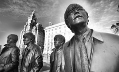 In My Life (Idreamofpies) Tags: merseyside uk gb united kingdom statue liver building monochrome black white beatles john paul george ringo pier head lennon mccartney