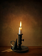 May there be light! (Through Serena's Lens) Tags: candle candlestick candleholder vintage metal flame lit light stilllife tabletop indoor texture 52stilllifes withaquote 7dwf