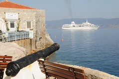On Target ! (john a d willis) Tags: greece greekisland hydra carfree cannon cruiseship